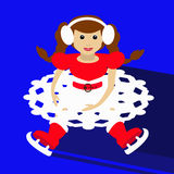 Santa girl Christmas New Year on blue background sitting with skates and waves up  illustration  a skirt in the form of snow. Santa girl Christmas New Year on Stock Images
