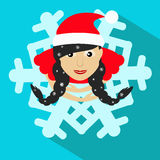 Santa girl Christmas New Year  illustration snowflake brunette view from above. Santa girl Christmas New Year  illustration snowflake brunette Royalty Free Stock Photos