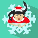Santa girl Christmas New Year illustration snowflake brunette view from above. Santa girl Christmas New Year illustration snowflake brunette stock illustration