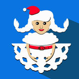 Santa girl Christmas New Year  illustration snowflake brunette view from above paper origami. Santa girl Christmas New Year  illustration snowflake brunette view Royalty Free Stock Images