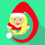 Santa girl Christmas New Year  illustration of a top view with  long Kalpaka cap simple image icon. Santa girl Christmas New Year  illustration of a top view Stock Images
