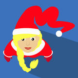 Santa girl Christmas New Year  illustration of a top view with  long Kalpaka cap simple image icon Stock Image