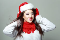 Santa girl with closed eyes Stock Photo