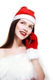 Santa Girl con el teléfono celular Foto de archivo libre de regalías