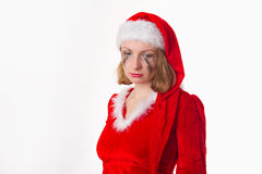 Santa girl cries humor heart Stock Photos