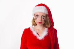 Santa girl cries humor heart Stock Photo