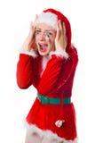 Santa girl cries humor heart Stock Photography