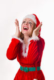 Santa girl cries humor heart Royalty Free Stock Photos