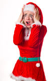 Santa girl cries humor heart Stock Photo