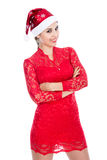 Santa girl crossed arms portrait Stock Photos