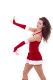 Santa girl dancing Stock Image