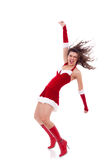 Santa girl dancing Stock Photos