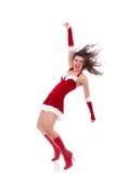 Santa girl dancing Stock Photos