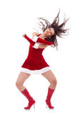 Santa girl dancing Royalty Free Stock Photography