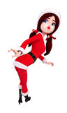 Santa girl is dancing Stock Photo
