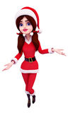 Santa girl is dancing isolated with white Royalty Free Stock Photo