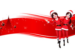 Santa girl is dancing on red background Royalty Free Stock Image