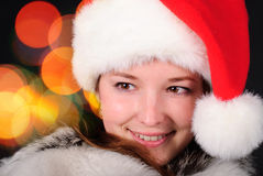 Santa girl face Royalty Free Stock Images