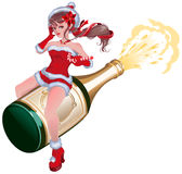 Santa girl flying on bottle champagne. Maiden flying on bottle Royalty Free Stock Photos