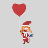 Santa girl flying on a heart balloon. 3D. 