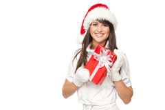 Santa girl with gift Stock Image