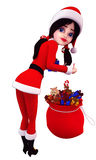 Santa girl is with gift bag Royalty Free Stock Photos