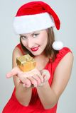 Santa girl with gift box Stock Photo