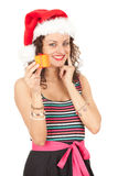 Santa girl with gift box Royalty Free Stock Image