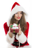 Santa girl with gift box covered  by snow Stock Images