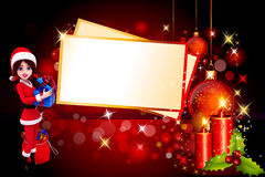 Santa girl with a gift box on red background Royalty Free Stock Photos