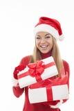 Santa girl with gift Royalty Free Stock Photos
