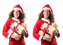 The santa girl with giftboxes on white Royalty Free Stock Photography