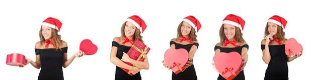 The santa girl with giftboxes on white Stock Image