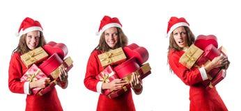The santa girl with giftboxes on white Royalty Free Stock Photo