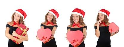 The santa girl with giftboxes on white Stock Photo