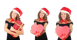 The santa girl with giftboxes on white Royalty Free Stock Image