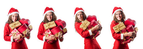 The santa girl with giftboxes on white Royalty Free Stock Photos