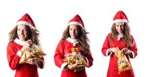 The santa girl with giftboxes on white Stock Photos