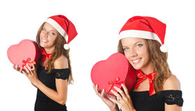 The santa girl with giftboxes on white Royalty Free Stock Photo