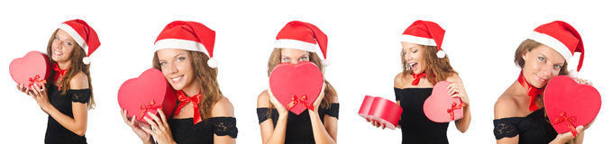 The santa girl with giftboxes on white Stock Image