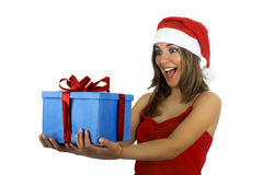 Santa Girl with gifts Stock Photo