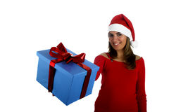Santa Girl with gifts Royalty Free Stock Photos