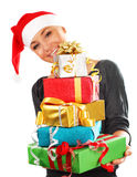 Santa girl with gifts Stock Photography