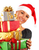 Santa girl with gifts Stock Image