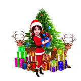 Santa girl with gifts and christmas tree Stock Photos