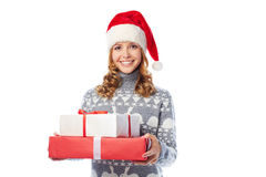 Santa girl with gifts Royalty Free Stock Photography