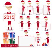 Santa Girl with Gifts and poster, Vector Royalty Free Stock Photos