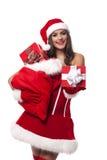 Santa girl with gifts royalty free stock photos