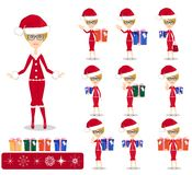 Santa Girl with Gifts, Vector Royalty Free Stock Photo