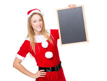 Santa girl hold with blackboard Royalty Free Stock Images